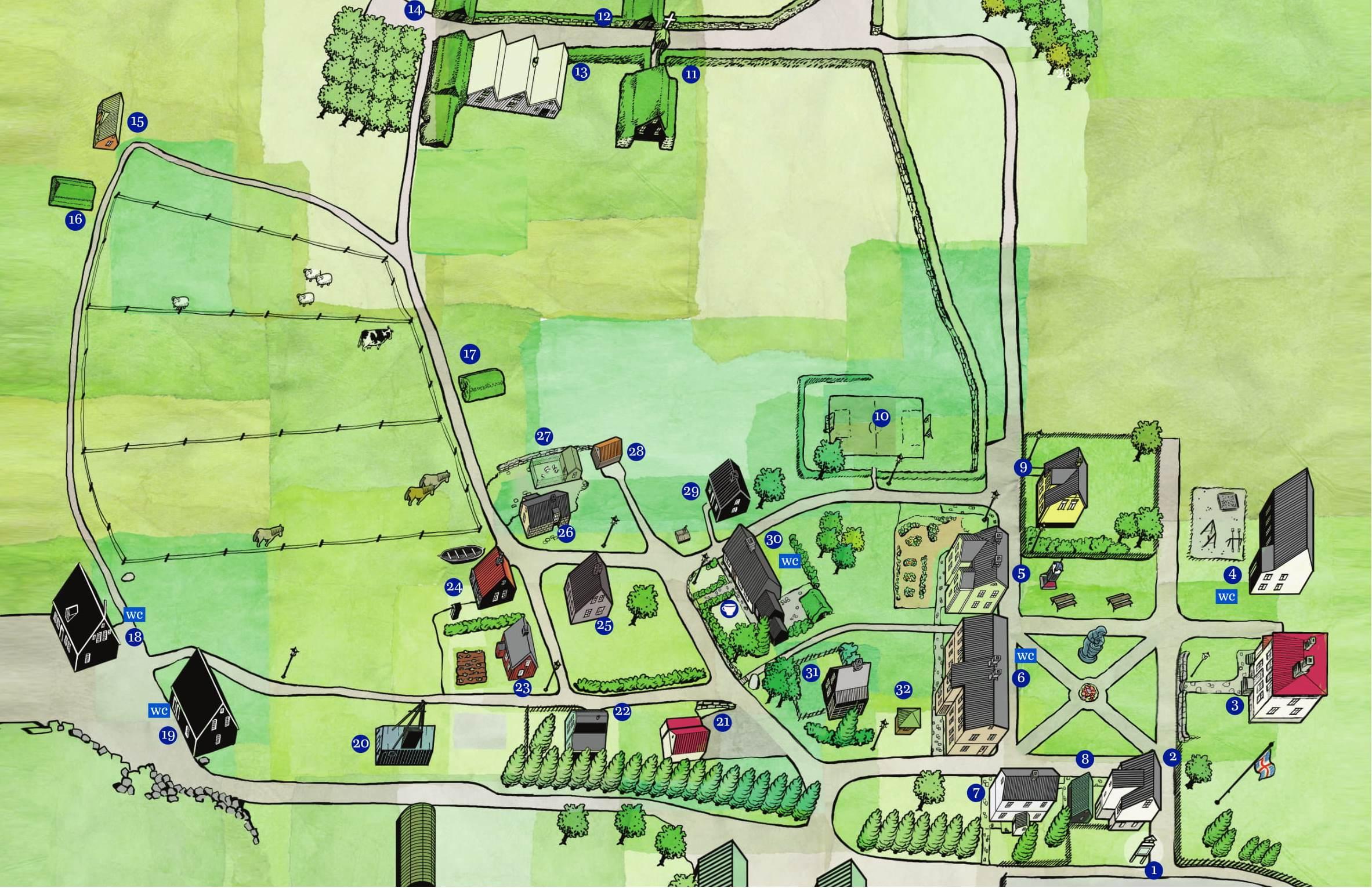 Teiknað kort af safnsvæði Árbæjarsafns / Map of the museum area